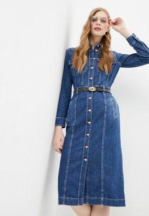 Платье джинсовое 7 For All Mankind. Цвет: синий