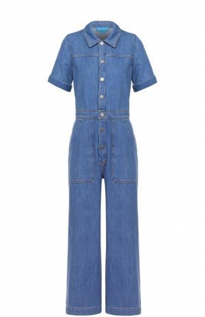 Джинсовый комбинезон с широкими брючинами и накладными карманами MiH Jeans. Цвет: синий