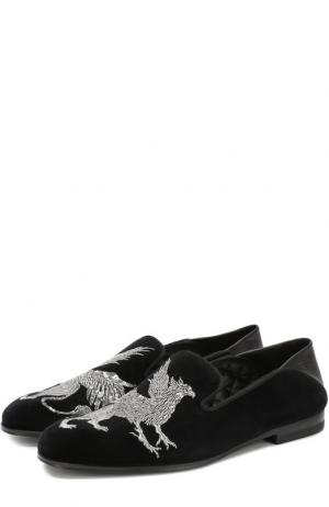 Бархатные слиперы с вышивкой и мягким задником Alexander McQueen. Цвет: черный