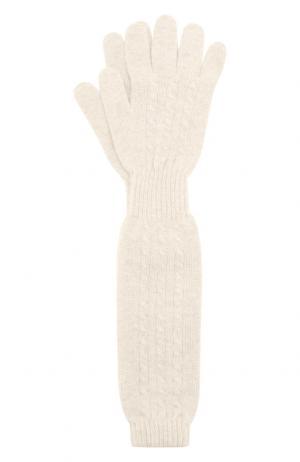 Удлиненные перчатки из кашемира Kashja` Cashmere. Цвет: белый