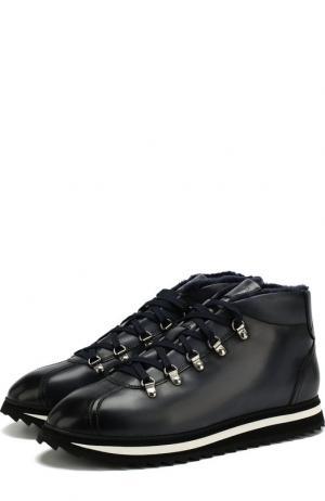 Кожаные ботинки на шнуровке с внутренней меховой отделкой Doucals Doucal's. Цвет: темно-синий