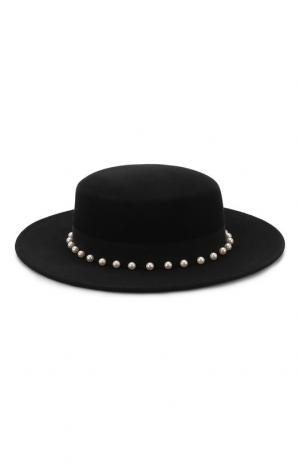 Фетровая шляпа с отделкой жемчужинами Eugenia Kim. Цвет: черный
