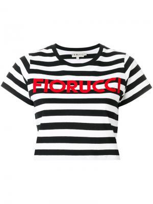 Полосатая укорочнная футболка Fiorucci. Цвет: чёрный