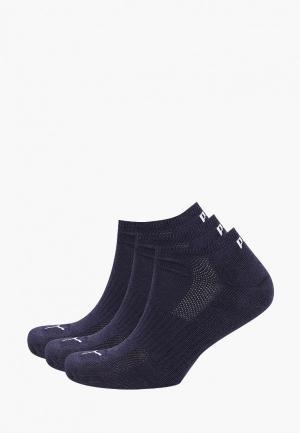 Носки 3 пары PUMA. Цвет: синий