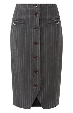 Шерстяная юбка на пуговицах Altuzarra. Цвет: серый