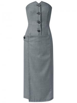 Платье с корсетом на пуговицах Reinaldo Lourenço. Цвет: серый