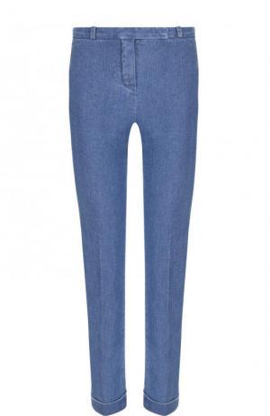 Укороченные джинсы-скинни с отворотами Loro Piana. Цвет: синий