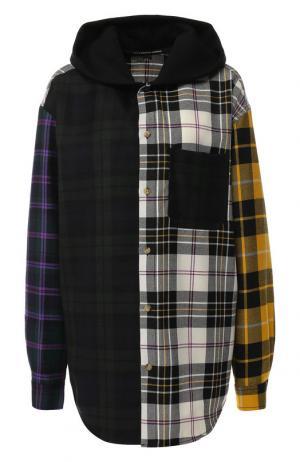 Шерстяная блуза в клетку с капюшоном Alexander Wang. Цвет: разноцветный