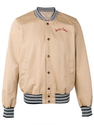 Куртка-бомбер с вышивкой Maison Kitsuné. Цвет: телесный