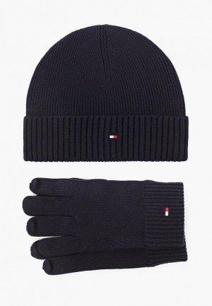 Шапка и перчатки Tommy Hilfiger. Цвет: синий