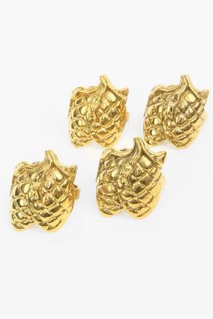 Набор: 4 кольца для салфеток Stilars. Цвет: золотой