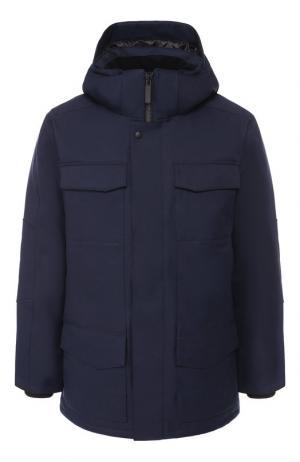 Пуховая куртка Windermere на молнии с капюшоном Canada Goose. Цвет: синий