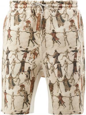 Шорты с принтом танцующих скелетов Undercover. Цвет: коричневый