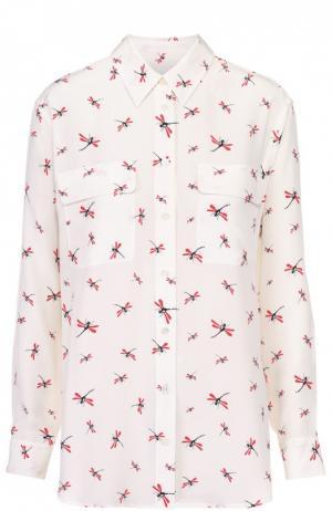 Шелковая блуза с накладными карманами и контрастным принтом Equipment. Цвет: разноцветный