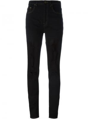Рваные джинсы кроя скинни Saint Laurent. Цвет: синий
