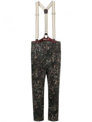 Зауженные книзу брюки с подтяжками Aleksandr Manamïs. Цвет: многоцветный