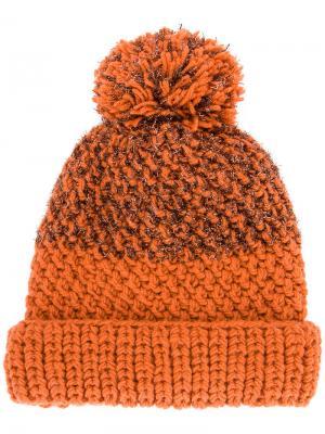 Шапка-бини Lyudmila Nanda 711. Цвет: жёлтый и оранжевый