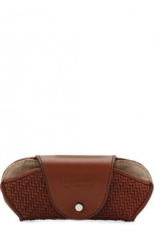 Кожаный футляр для очков Ermenegildo Zegna. Цвет: темно-бежевый
