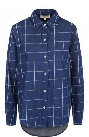 Хлопковая блуза свободного кроя с оборками Clu. Цвет: синий