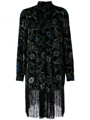 Накидка с бахромой на подоле Anna Sui. Цвет: чёрный