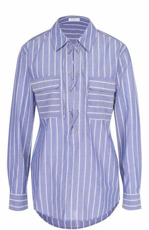 Хлопковая блуза прямого кроя в полоску Equipment. Цвет: синий
