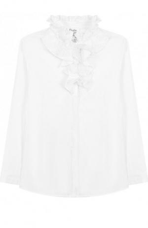 Хлопковая блуза с кружевным жабо Aletta. Цвет: белый