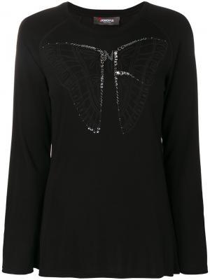 Топ с изображением бабочки и длинными рукавами Jo No Fui. Цвет: чёрный