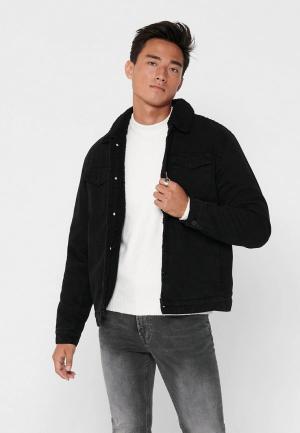 Куртка джинсовая Only & Sons. Цвет: черный