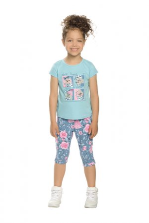 Комплект: футболка и бриджи Pelican. Цвет: голубой(9)