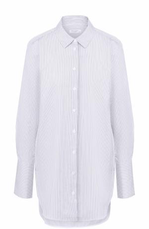 Удлиненная блуза свободного кроя в полоску Equipment. Цвет: голубой