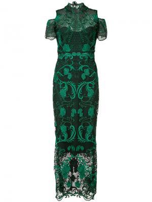 Платье с вышитыми розами Marchesa Notte. Цвет: зелёный