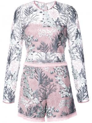 Комбинезон с цветочной вышивкой Alexis. Цвет: розовый и фиолетовый