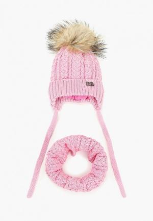 Шапка и шарф TuTu. Цвет: розовый