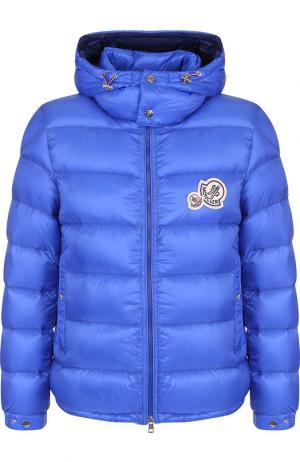 Утепленная куртка Bramant на молнии с капюшоном Moncler. Цвет: синий