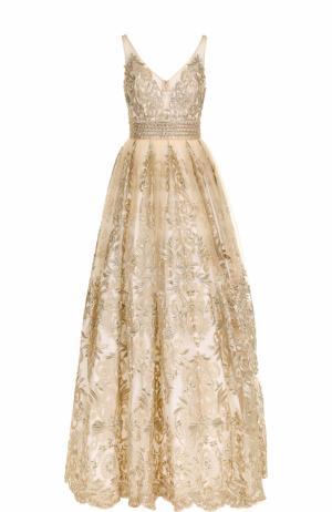 Приталенное кружевное платье-макси Basix Black Label. Цвет: золотой