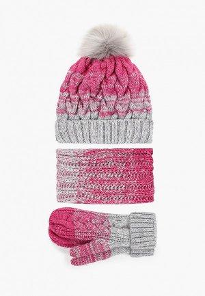 Шапка, шарф и варежки TrendyAngel. Цвет: розовый
