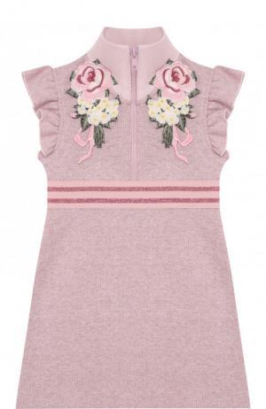 Хлопковое мини-платье с воротником-стойкой и аппликациями Monnalisa. Цвет: розовый