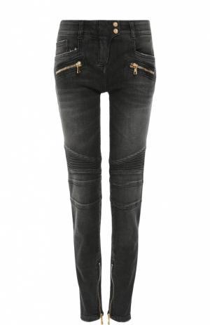 Байкерские джинсы-скинни с декоративной отделкой Balmain. Цвет: серый