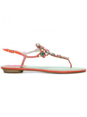 Декорированные сандалии с открытым носком René Caovilla. Цвет: красный