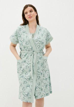 Халат и сорочка ночная Dansanti. Цвет: зеленый