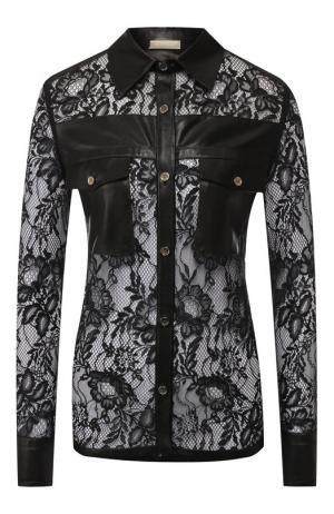 Кружевная блуза с кожаной отделкой Elie Saab. Цвет: черный