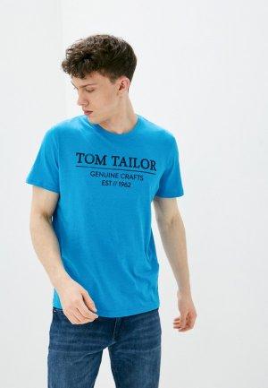 Футболка Tom Tailor. Цвет: бирюзовый