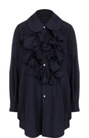 Однотонная блуза свободного кроя с оборками Comme des Garcons. Цвет: синий