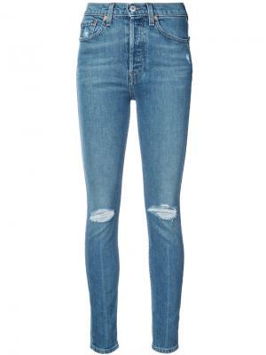 Облегающие рваные джинсы Re/Done. Цвет: синий