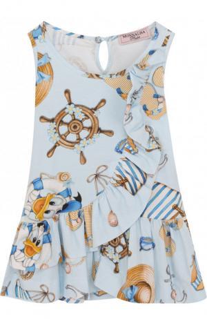 Хлопковое платье с декоративной оборкой Monnalisa. Цвет: голубой