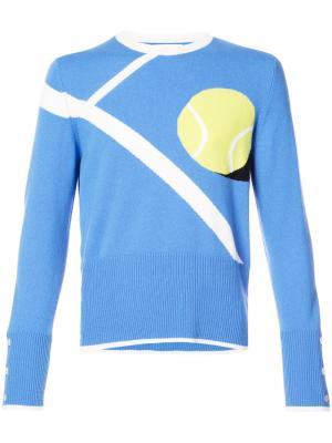 Джемпер с теннисным мячом в технике интарсия Thom Browne. Цвет: синий