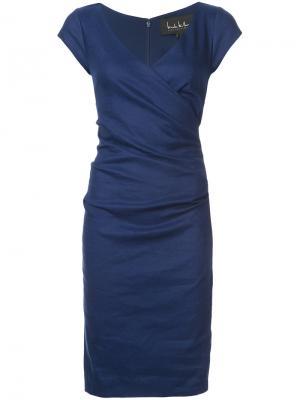 Платье по фигуре с V-образным вырезом Nicole Miller. Цвет: синий