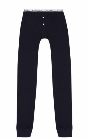 Хлопковые брюки с эластичным поясом La Perla. Цвет: темно-синий
