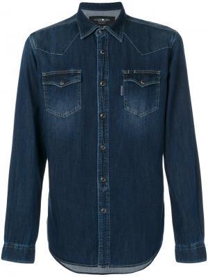 Приталенная джинсовая рубашка Hydrogen. Цвет: синий