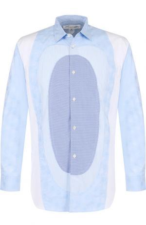 Хлопковая рубашка свободного кроя Comme des Garcons. Цвет: синий